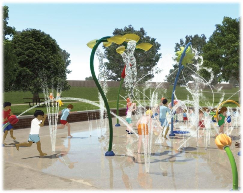 Rendering of kids playing on splashpad
