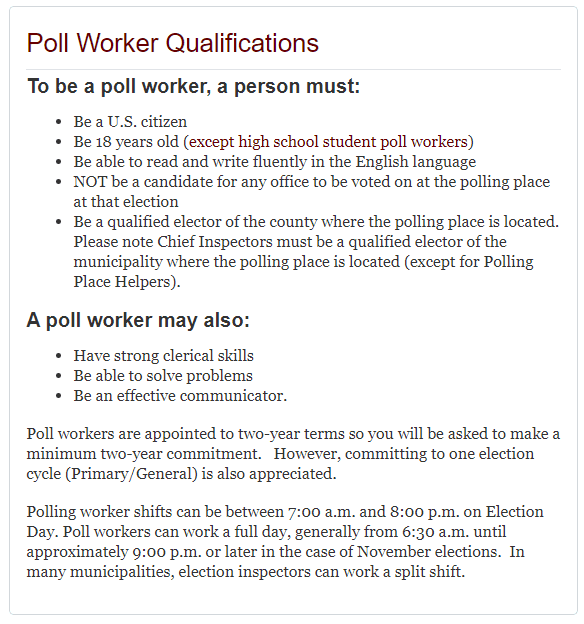 Poll Worker Eligibility1